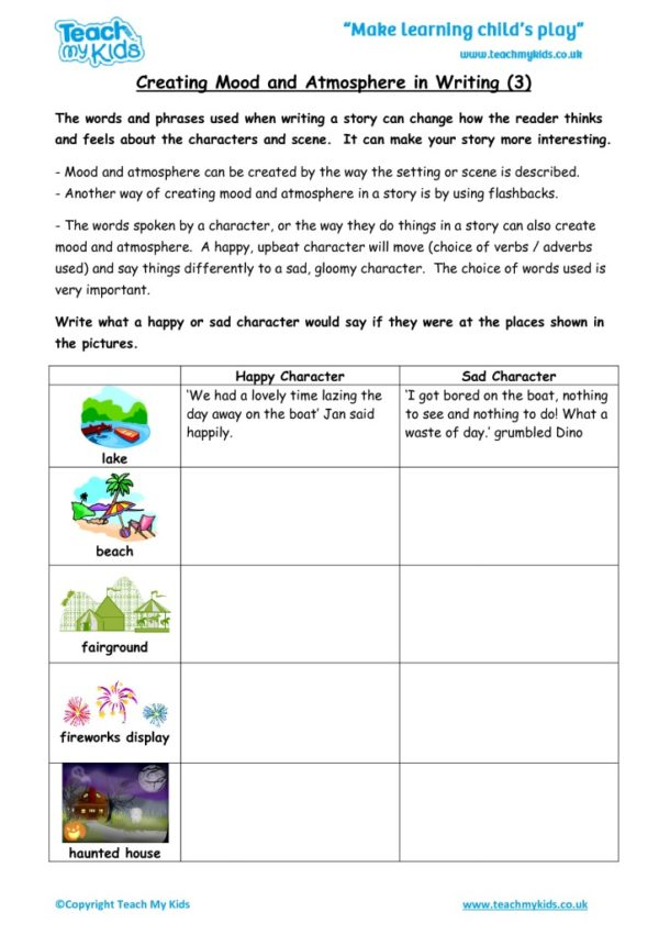 Worksheets for kids - creating-mood-and-atmosphere-in-writing-3
