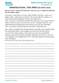 Worksheets for kids - handwriting-practise-peter-rabbit-subordinate-clauses