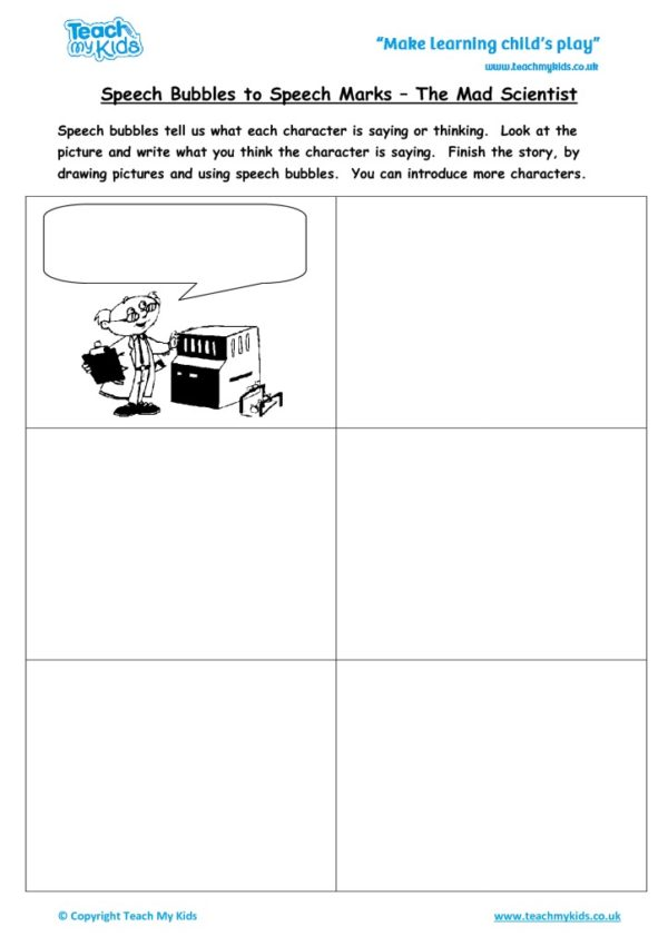 Worksheets for kids - speech-bubbles-to-speech-marks-mad-scientist