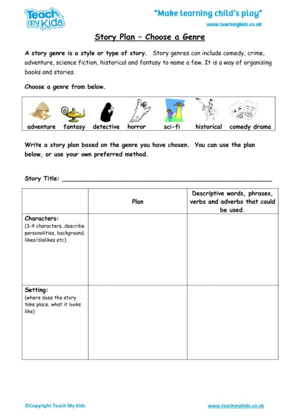 Worksheets for kids - story-plan-choose-a-genre