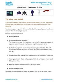 Worksheets for kids - aliens_land-newspaper_article
