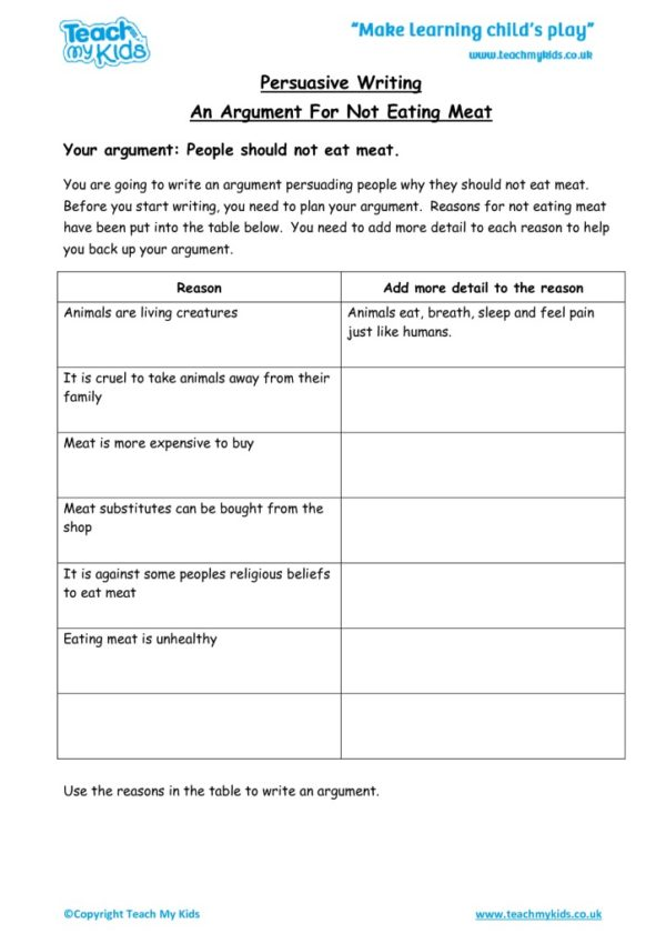 Worksheets for kids - arguement-for-not-eating-meat