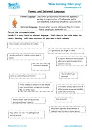 Worksheets for kids - formal-informal-language