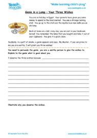 Worksheets for kids - genie-in-a-lamp-your-three-wishes