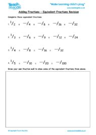 Worksheets for kids - adding-fractions-equivalent-fractions-revision