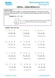Worksheets for kids - addition, column carrying numbers htu 3