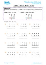 Worksheets for kids - addition, column carrying numbers htu 4