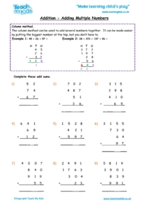 Worksheets for kids - addition, column carrying numbers multiple nos 5