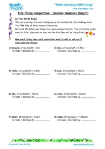Worksheets for kids - kite-flying-competition-decimal-numbers-length