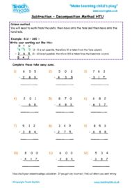 Worksheets for kids - subtraction-decompostion-htu