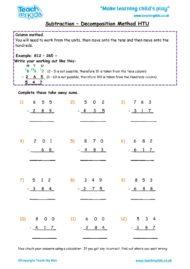 Worksheets for kids - subtraction-decompostion-htu