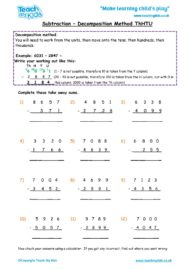 Worksheets for kids - subtraction-decompostion-thhtu