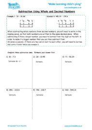 Worksheets for kids - subtraction-using-whole-numbers-and-decimal-numbers