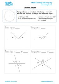 Worksheets for kids - unknown-angles