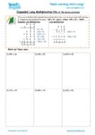 Worksheets for kids - expanded long multiplication – htu x tu extra practise