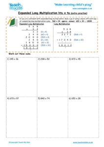 Worksheets for kids - expanded long multiplication – htu x tu extra practise