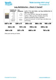 Worksheets for kids - long multiplication, check it yourself