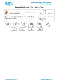 Worksheets for kids - long multiplication – htu x tu flags