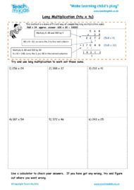 Worksheets for kids - long multiplication – htu x tu
