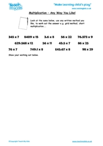 Worksheets for kids - multiplication-any-way-you-like
