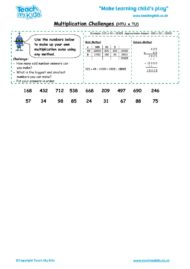 Worksheets for kids - multiplication-grid method challenges