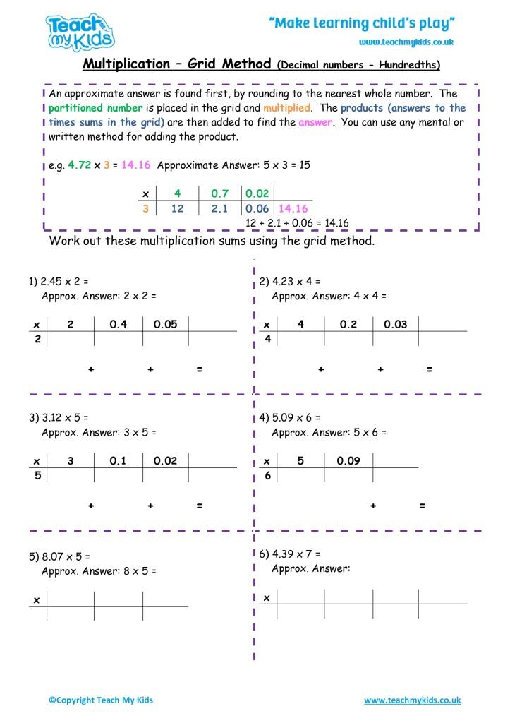 Multiplication Grid Method Decimal Numbers Hundredths Tmk