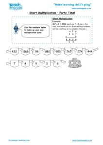 Worksheets for kids - short-multiplication-party-time