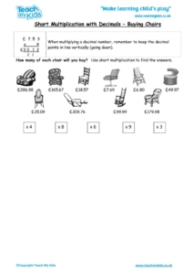 Worksheets for kids - short_multiplication,_decimals_-_buying_chairs