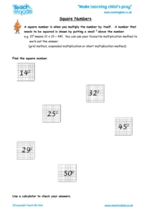 Worksheets for kids - square-numbers