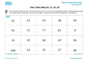 Worksheets for kids - times tables bingo tmked – x6 x7 x8 x9