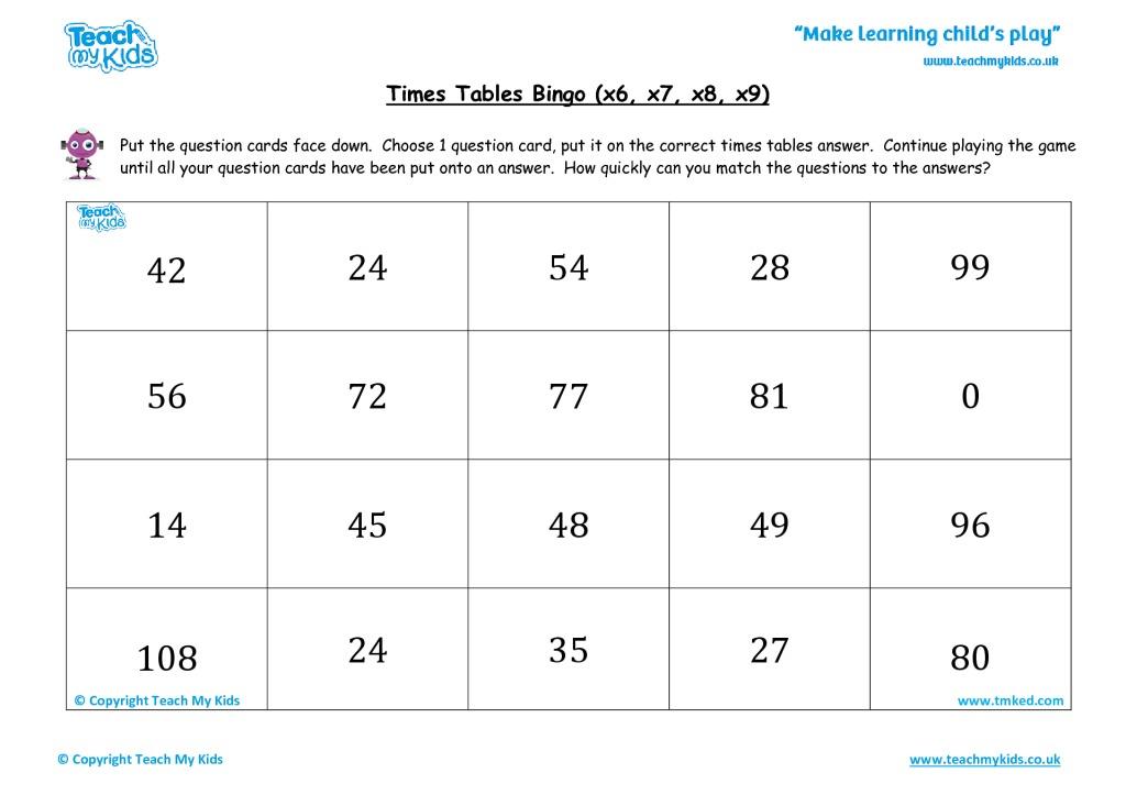 times tables bingo easy x6 x7 x8 x9 tmk education. Black Bedroom Furniture Sets. Home Design Ideas