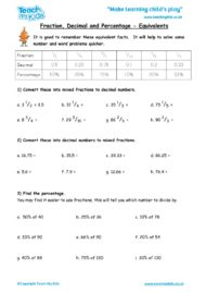 Worksheets for kids - fraction-decimal-and-percentage-equivalents