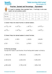 Worksheets for kids - fraction-decimal-and-percentage-equivalents