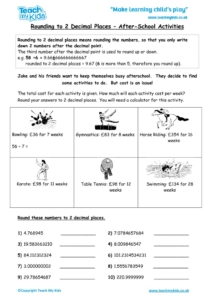 Worksheets for kids - rounding-to-2-decimal-places-afterschool-activities