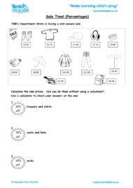 Worksheets for kids - sale-time-percentages