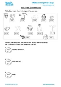 Worksheets for kids - sale-time-percentages