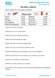 Worksheets for kids - tuck-shop-using-£