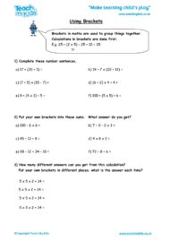 Worksheets for kids - using-brackets