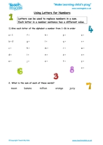 Worksheets for kids - using-letters-for-numbers