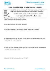 Worksheets for kids - using_simple_formulae_to_solve_problems
