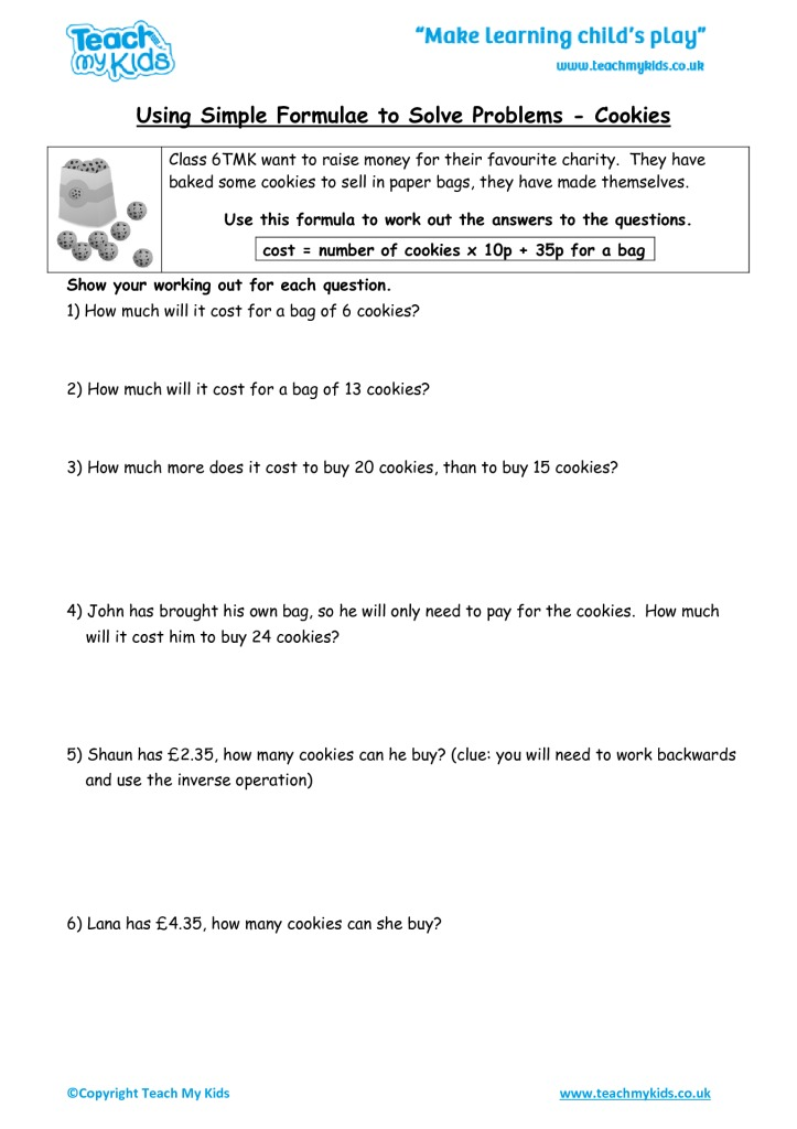 working backwards problems year 6
