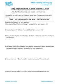 Worksheets for kids - using_simple_formulae_to_solve_problems_-_juice