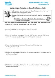 Worksheets for kids - using_simple_formulae_to_solve_problems_-_party