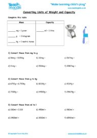 Worksheets for kids - converting-units-of-masscapacity